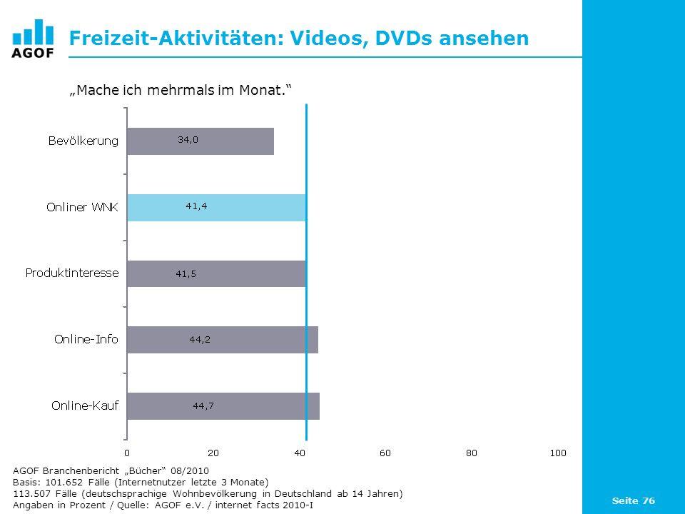 Seite 76 Freizeit-Aktivitäten: Videos, DVDs ansehen Basis: 101.652 Fälle (Internetnutzer letzte 3 Monate) 113.507 Fälle (deutschsprachige Wohnbevölker