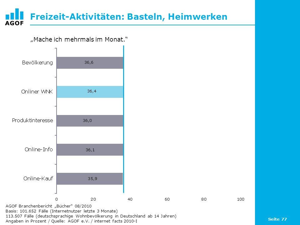 Seite 77 Freizeit-Aktivitäten: Basteln, Heimwerken Basis: 101.652 Fälle (Internetnutzer letzte 3 Monate) 113.507 Fälle (deutschsprachige Wohnbevölkeru