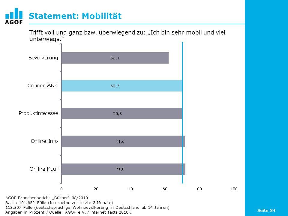 Seite 84 Statement: Mobilität Basis: 101.652 Fälle (Internetnutzer letzte 3 Monate) 113.507 Fälle (deutschsprachige Wohnbevölkerung in Deutschland ab