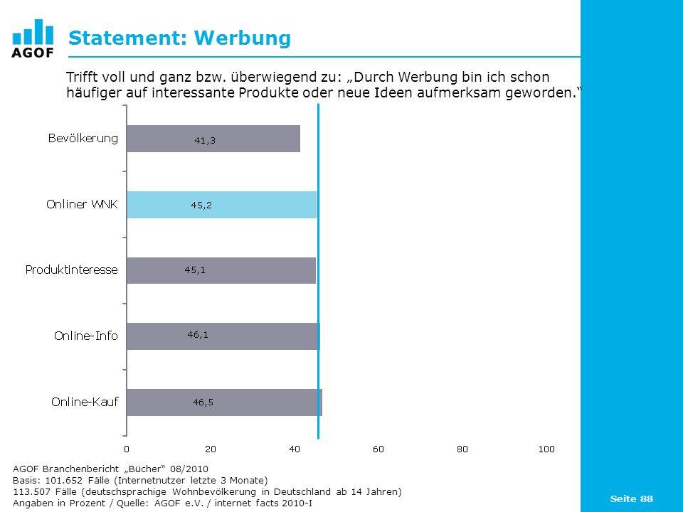 Seite 88 Statement: Werbung Basis: 101.652 Fälle (Internetnutzer letzte 3 Monate) 113.507 Fälle (deutschsprachige Wohnbevölkerung in Deutschland ab 14