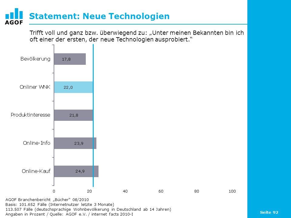 Seite 92 Statement: Neue Technologien Basis: 101.652 Fälle (Internetnutzer letzte 3 Monate) 113.507 Fälle (deutschsprachige Wohnbevölkerung in Deutsch