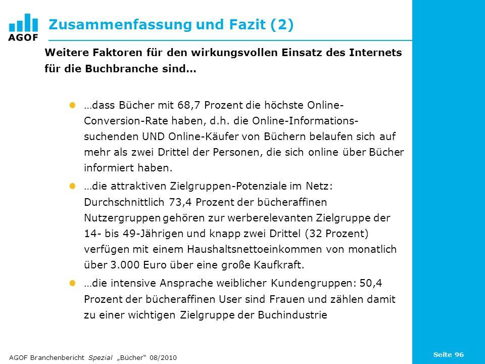 Seite 96 Zusammenfassung und Fazit (2) Weitere Faktoren für den wirkungsvollen Einsatz des Internets für die Buchbranche sind... …dass Bücher mit 68,7