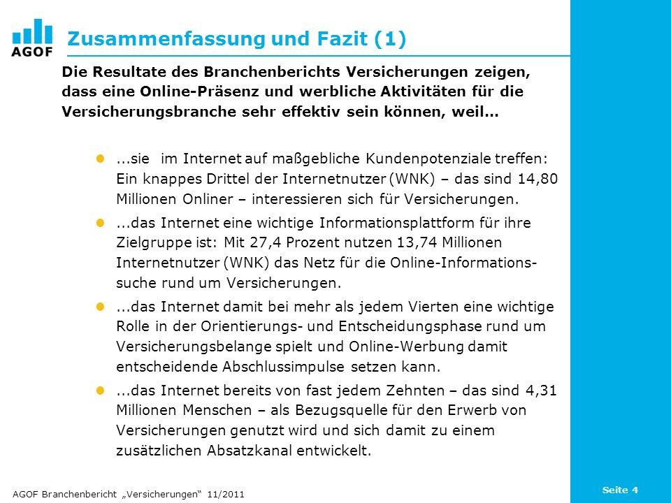 Seite 4 Zusammenfassung und Fazit (1) Die Resultate des Branchenberichts Versicherungen zeigen, dass eine Online-Präsenz und werbliche Aktivitäten für
