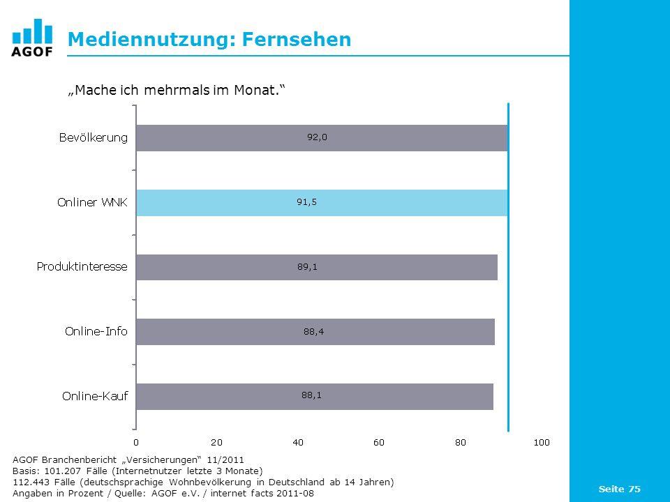 Seite 75 Mediennutzung: Fernsehen Basis: 101.207 Fälle (Internetnutzer letzte 3 Monate) 112.443 Fälle (deutschsprachige Wohnbevölkerung in Deutschland