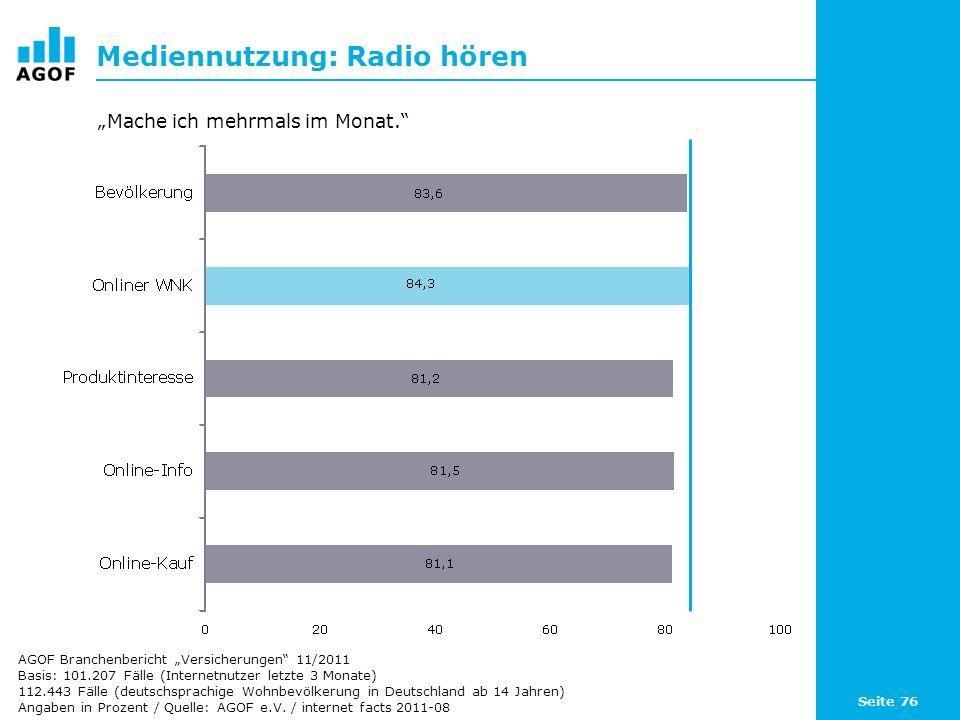 Seite 76 Mediennutzung: Radio hören Basis: 101.207 Fälle (Internetnutzer letzte 3 Monate) 112.443 Fälle (deutschsprachige Wohnbevölkerung in Deutschland ab 14 Jahren) Angaben in Prozent / Quelle: AGOF e.V.