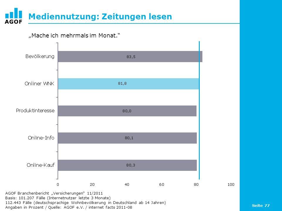 Seite 77 Mediennutzung: Zeitungen lesen Basis: 101.207 Fälle (Internetnutzer letzte 3 Monate) 112.443 Fälle (deutschsprachige Wohnbevölkerung in Deutschland ab 14 Jahren) Angaben in Prozent / Quelle: AGOF e.V.