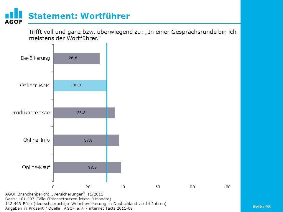 Seite 98 Statement: Wortführer Basis: 101.207 Fälle (Internetnutzer letzte 3 Monate) 112.443 Fälle (deutschsprachige Wohnbevölkerung in Deutschland ab 14 Jahren) Angaben in Prozent / Quelle: AGOF e.V.