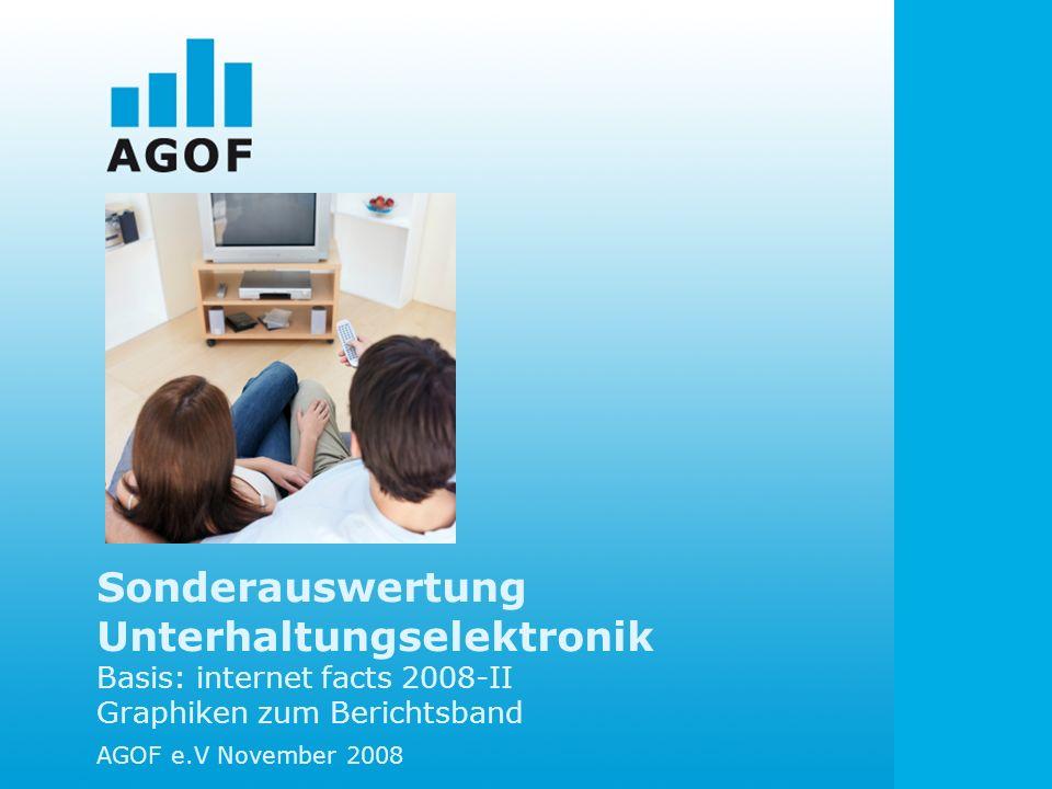 Sonderauswertung Unterhaltungselektronik Basis: internet facts 2008-II Graphiken zum Berichtsband AGOF e.V November 2008