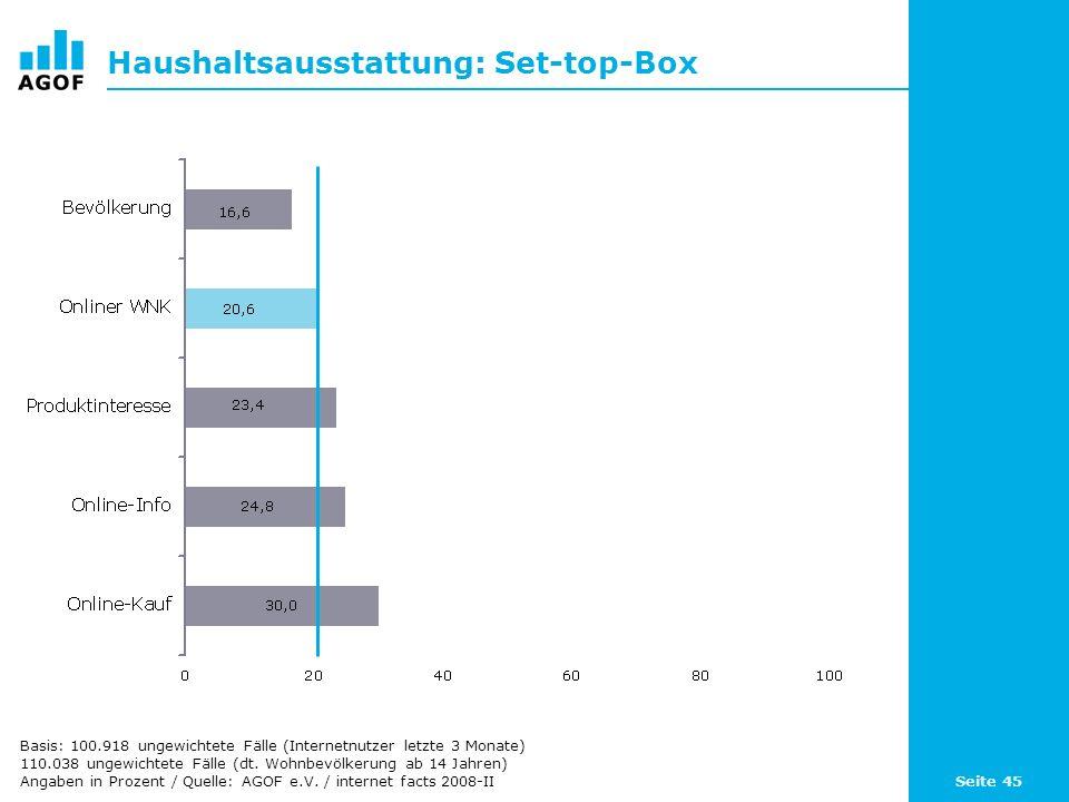 Seite 45 Haushaltsausstattung: Set-top-Box Basis: 100.918 ungewichtete Fälle (Internetnutzer letzte 3 Monate) 110.038 ungewichtete Fälle (dt. Wohnbevö