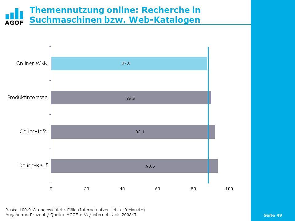 Seite 49 Themennutzung online: Recherche in Suchmaschinen bzw. Web-Katalogen Basis: 100.918 ungewichtete Fälle (Internetnutzer letzte 3 Monate) Angabe