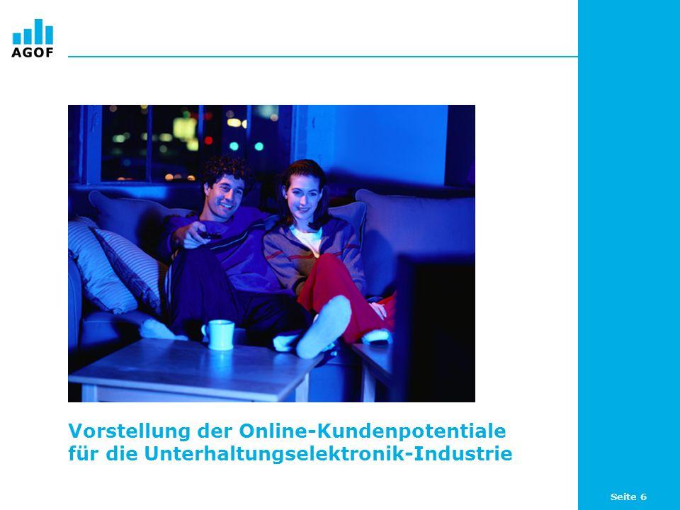 Seite 6 Vorstellung der Online-Kundenpotentiale für die Unterhaltungselektronik-Industrie