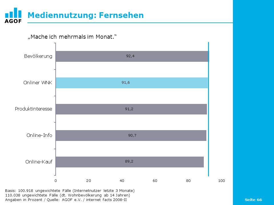 Seite 66 Mediennutzung: Fernsehen Basis: 100.918 ungewichtete Fälle (Internetnutzer letzte 3 Monate) 110.038 ungewichtete Fälle (dt. Wohnbevölkerung a