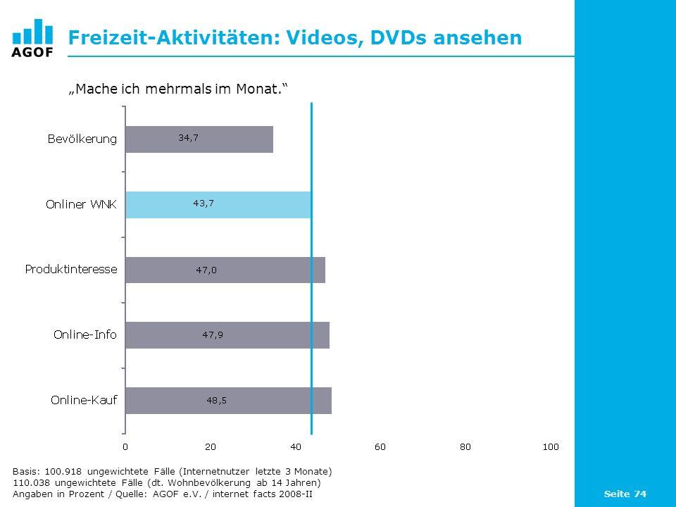 Seite 74 Freizeit-Aktivitäten: Videos, DVDs ansehen Basis: 100.918 ungewichtete Fälle (Internetnutzer letzte 3 Monate) 110.038 ungewichtete Fälle (dt.