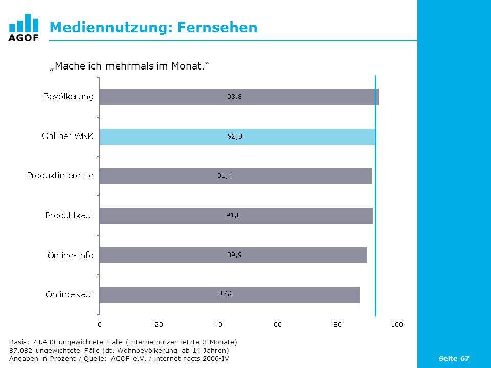 Seite 67 Mediennutzung: Fernsehen Basis: 73.430 ungewichtete Fälle (Internetnutzer letzte 3 Monate) 87.082 ungewichtete Fälle (dt.