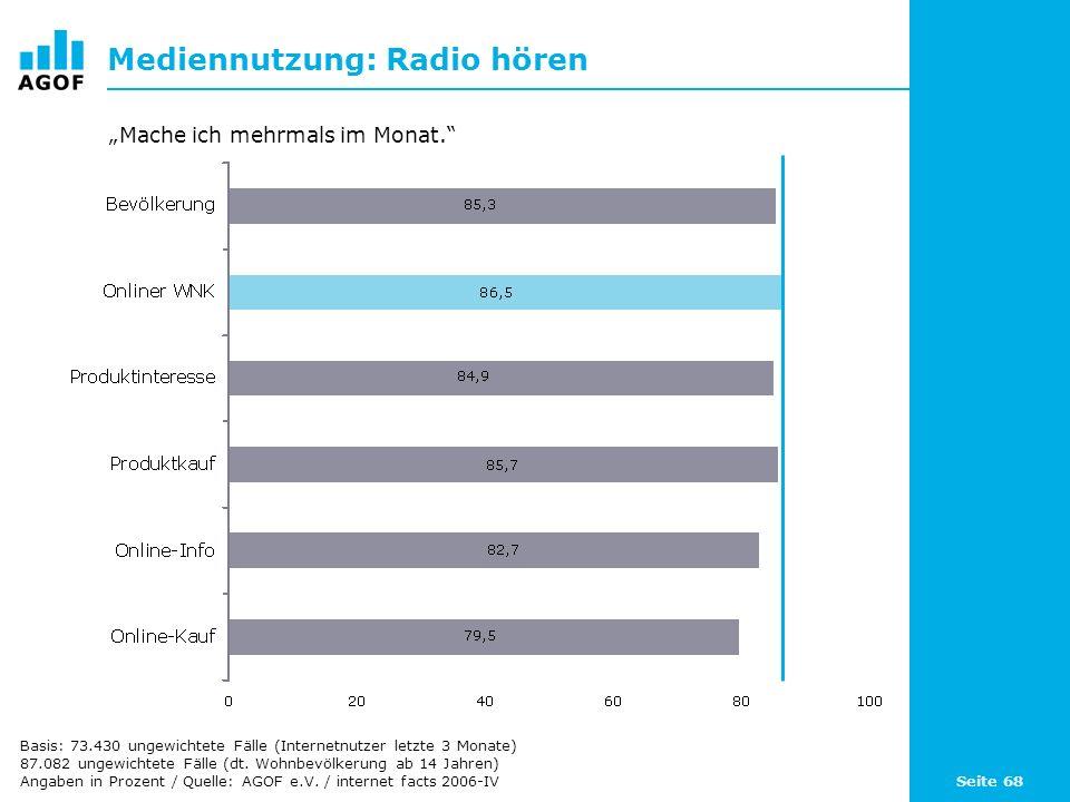 Seite 68 Mediennutzung: Radio hören Basis: 73.430 ungewichtete Fälle (Internetnutzer letzte 3 Monate) 87.082 ungewichtete Fälle (dt.