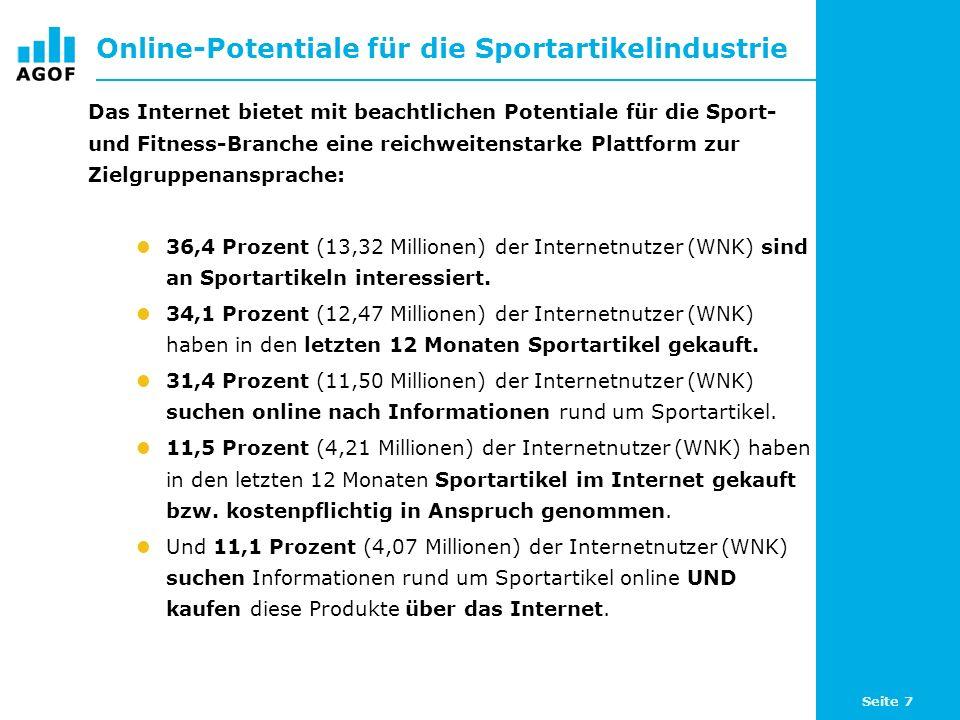 Seite 7 Online-Potentiale für die Sportartikelindustrie Das Internet bietet mit beachtlichen Potentiale für die Sport- und Fitness-Branche eine reichweitenstarke Plattform zur Zielgruppenansprache: 36,4 Prozent (13,32 Millionen) der Internetnutzer (WNK) sind an Sportartikeln interessiert.