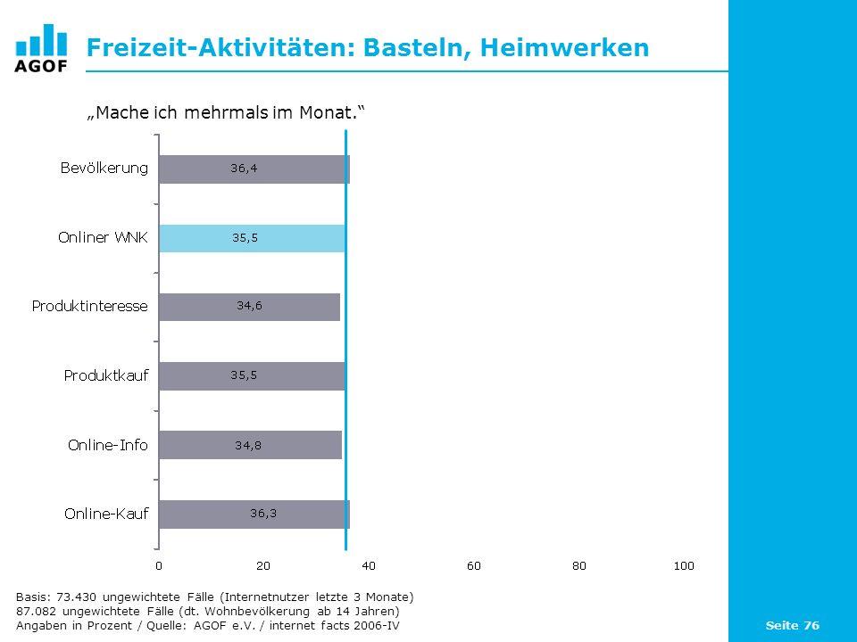 Seite 76 Freizeit-Aktivitäten: Basteln, Heimwerken Basis: 73.430 ungewichtete Fälle (Internetnutzer letzte 3 Monate) 87.082 ungewichtete Fälle (dt.
