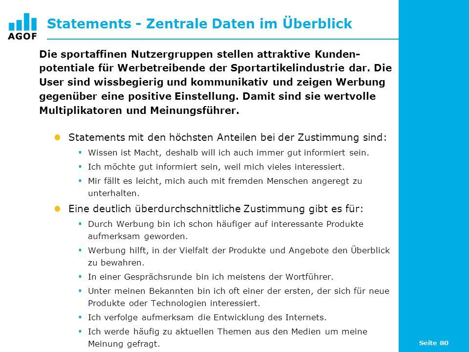 Seite 80 Statements - Zentrale Daten im Überblick Die sportaffinen Nutzergruppen stellen attraktive Kunden- potentiale für Werbetreibende der Sportartikelindustrie dar.