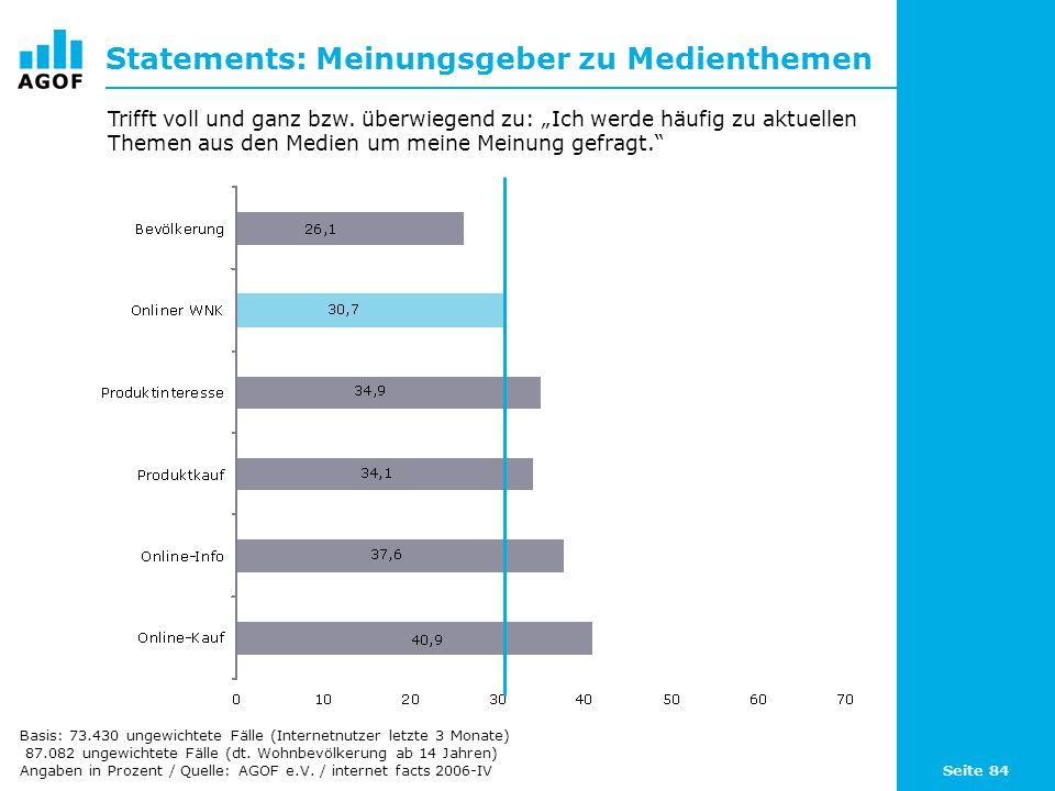 Seite 84 Statements: Meinungsgeber zu Medienthemen Basis: 73.430 ungewichtete Fälle (Internetnutzer letzte 3 Monate) 87.082 ungewichtete Fälle (dt.