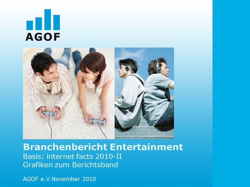Branchenbericht Entertainment Basis: internet facts 2010-II Grafiken zum Berichtsband AGOF e.V November 2010