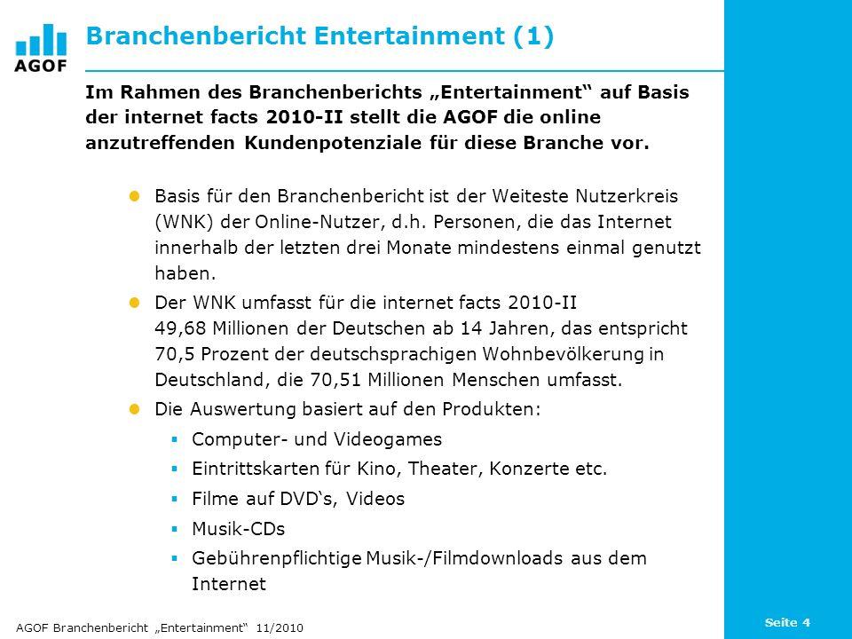 Seite 4 Branchenbericht Entertainment (1) Im Rahmen des Branchenberichts Entertainment auf Basis der internet facts 2010-II stellt die AGOF die online