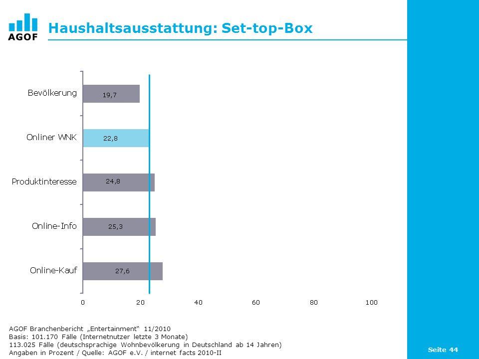 Seite 44 Haushaltsausstattung: Set-top-Box Basis: 101.170 Fälle (Internetnutzer letzte 3 Monate) 113.025 Fälle (deutschsprachige Wohnbevölkerung in De