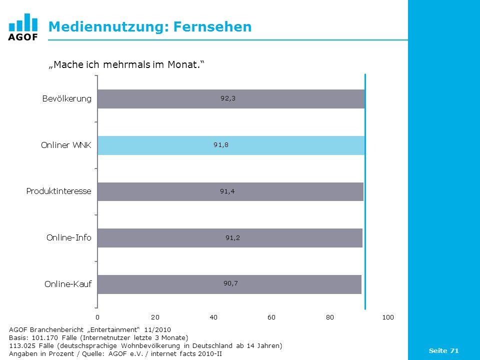 Seite 71 Mediennutzung: Fernsehen Basis: 101.170 Fälle (Internetnutzer letzte 3 Monate) 113.025 Fälle (deutschsprachige Wohnbevölkerung in Deutschland