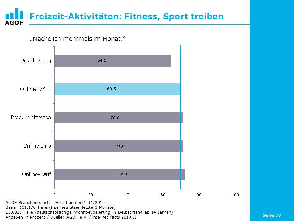 Seite 77 Freizeit-Aktivitäten: Fitness, Sport treiben Basis: 101.170 Fälle (Internetnutzer letzte 3 Monate) 113.025 Fälle (deutschsprachige Wohnbevölk
