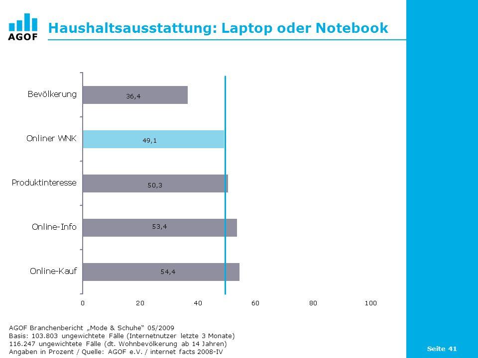 Seite 41 Haushaltsausstattung: Laptop oder Notebook Basis: 103.803 ungewichtete Fälle (Internetnutzer letzte 3 Monate) 116.247 ungewichtete Fälle (dt.