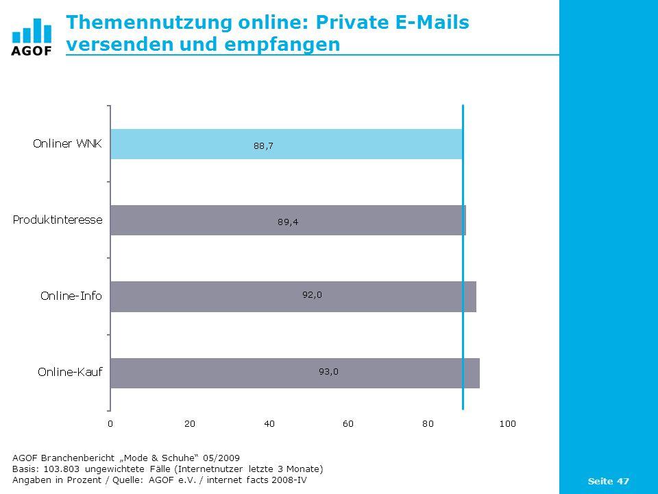Seite 47 Themennutzung online: Private E-Mails versenden und empfangen Basis: 103.803 ungewichtete Fälle (Internetnutzer letzte 3 Monate) Angaben in Prozent / Quelle: AGOF e.V.