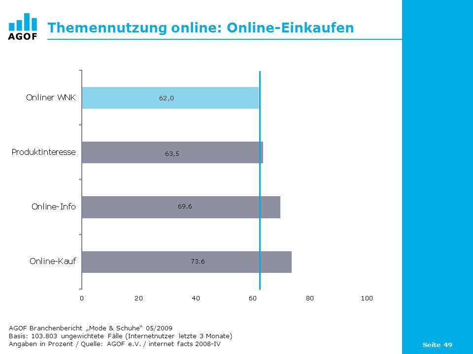 Seite 49 Themennutzung online: Online-Einkaufen Basis: 103.803 ungewichtete Fälle (Internetnutzer letzte 3 Monate) Angaben in Prozent / Quelle: AGOF e.V.