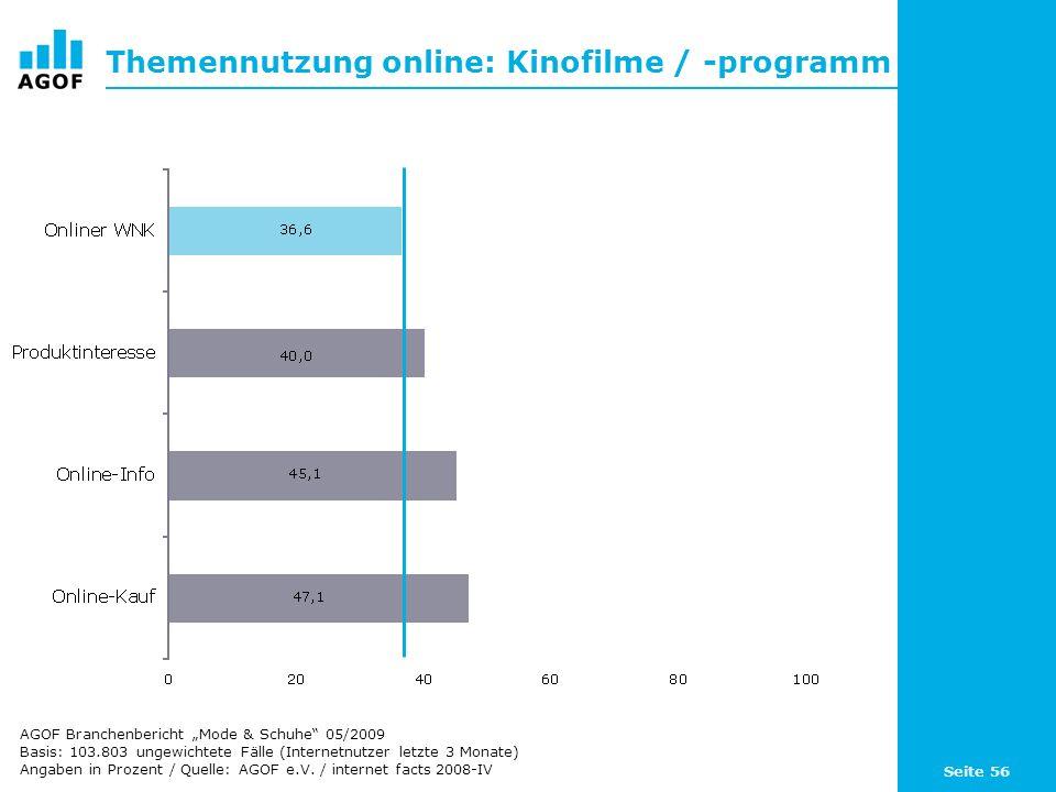 Seite 56 Themennutzung online: Kinofilme / -programm Basis: 103.803 ungewichtete Fälle (Internetnutzer letzte 3 Monate) Angaben in Prozent / Quelle: AGOF e.V.