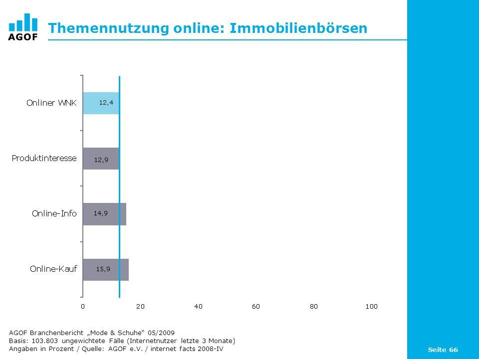 Seite 66 Themennutzung online: Immobilienbörsen Basis: 103.803 ungewichtete Fälle (Internetnutzer letzte 3 Monate) Angaben in Prozent / Quelle: AGOF e.V.