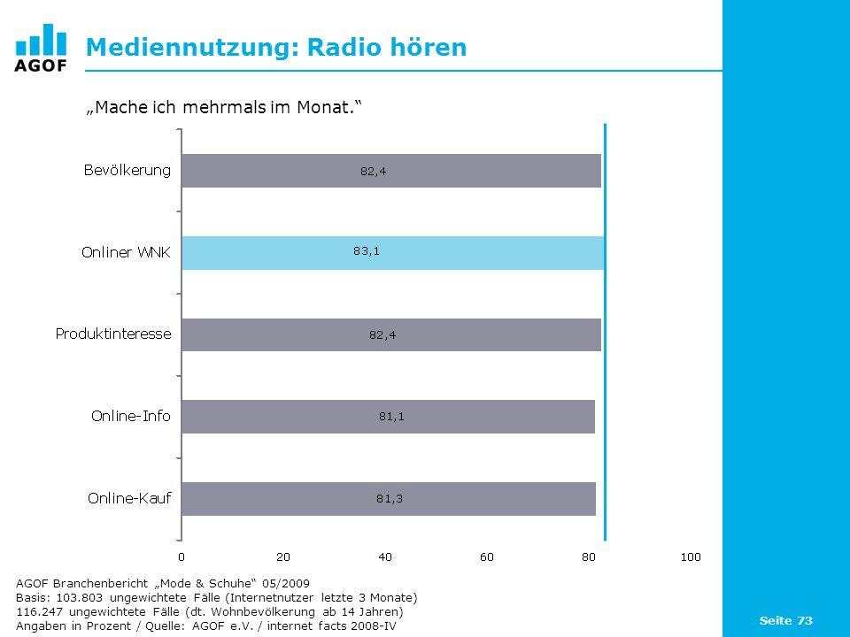 Seite 73 Mediennutzung: Radio hören Basis: 103.803 ungewichtete Fälle (Internetnutzer letzte 3 Monate) 116.247 ungewichtete Fälle (dt.