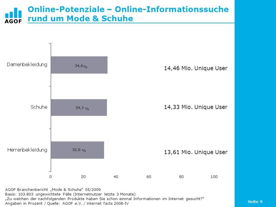 Seite 9 Online-Potenziale – Online-Informationssuche rund um Mode & Schuhe Basis: 103.803 ungewichtete Fälle (Internetnutzer letzte 3 Monate) Zu welchen der nachfolgenden Produkte haben Sie schon einmal Informationen im Internet gesucht.