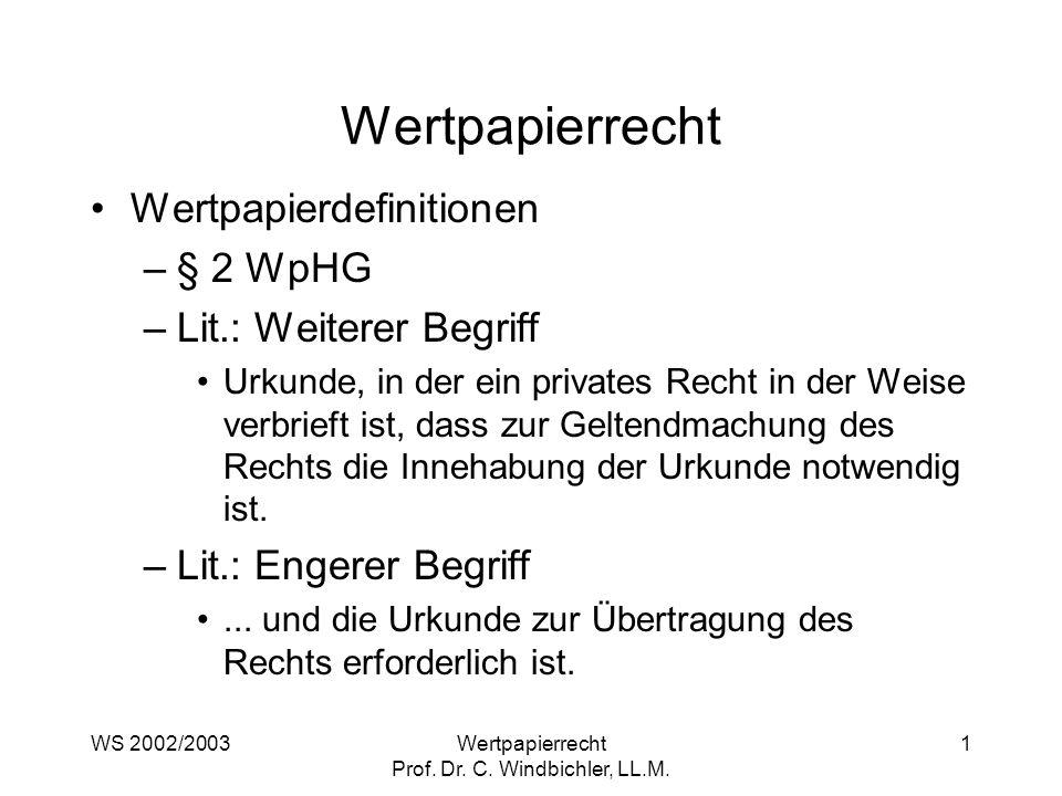WS 2002/2003Wertpapierrecht Prof. Dr. C. Windbichler, LL.M. 1 Wertpapierrecht Wertpapierdefinitionen –§ 2 WpHG –Lit.: Weiterer Begriff Urkunde, in der