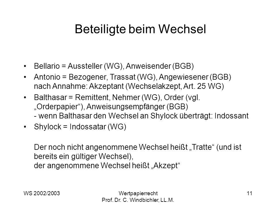 WS 2002/2003Wertpapierrecht Prof. Dr. C. Windbichler, LL.M. 11 Beteiligte beim Wechsel Bellario = Aussteller (WG), Anweisender (BGB) Antonio = Bezogen