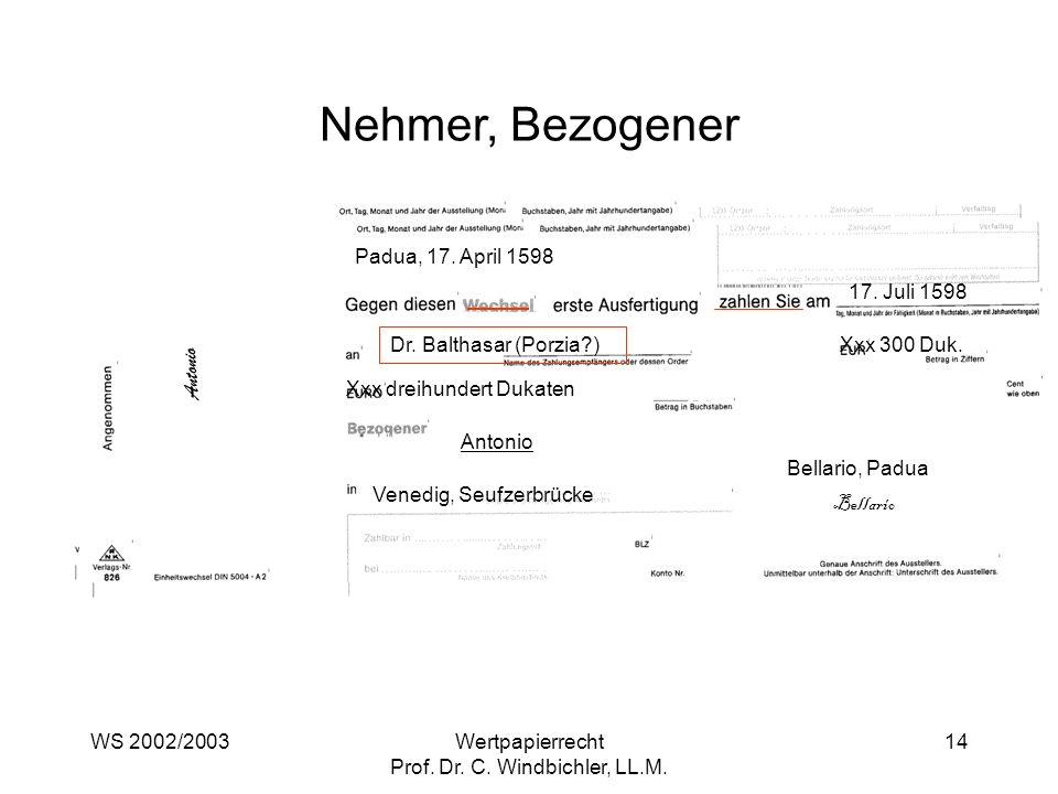 WS 2002/2003Wertpapierrecht Prof. Dr. C. Windbichler, LL.M. 14 Nehmer, Bezogener Padua, 17. April 1598 17. Juli 1598 Dr. Balthasar (Porzia?) Xxx 300 D