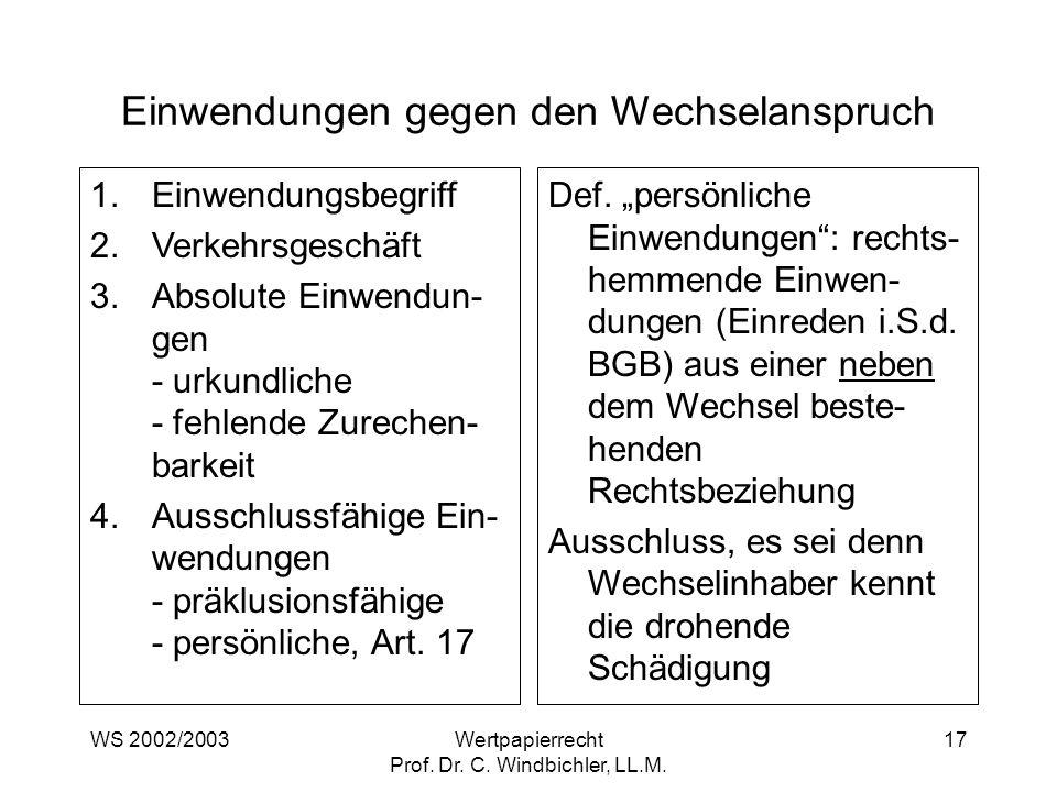 WS 2002/2003Wertpapierrecht Prof. Dr. C. Windbichler, LL.M. 17 Einwendungen gegen den Wechselanspruch 1.Einwendungsbegriff 2.Verkehrsgeschäft 3.Absolu