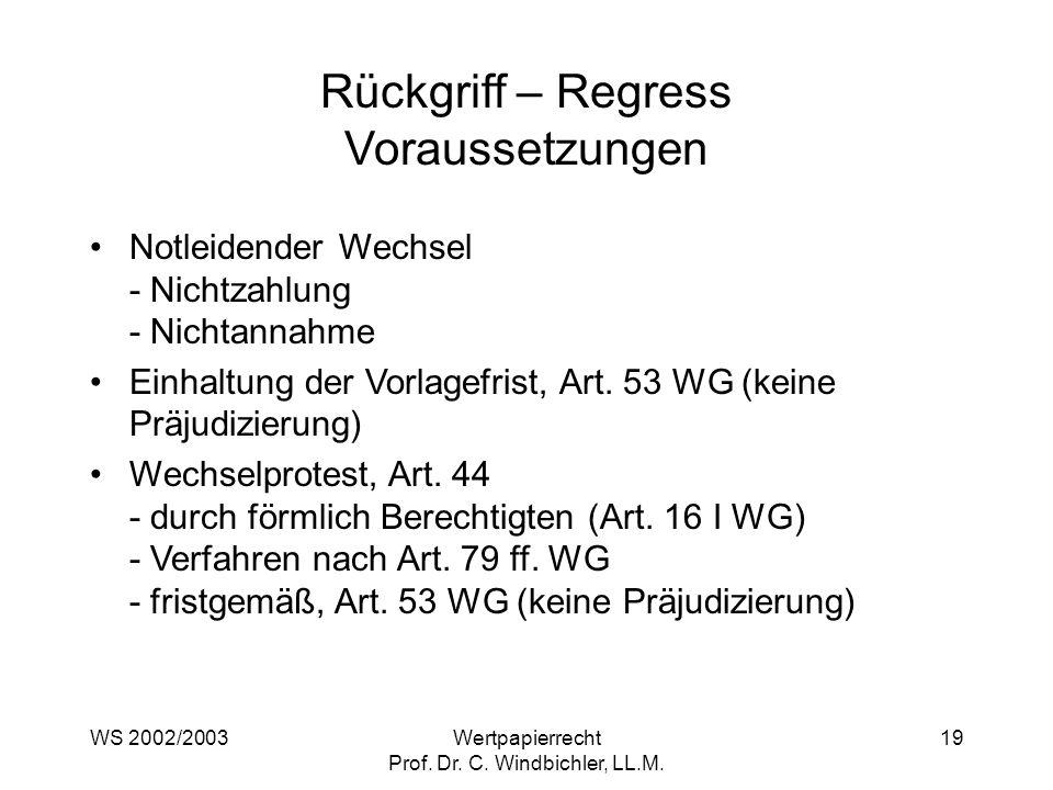 WS 2002/2003Wertpapierrecht Prof. Dr. C. Windbichler, LL.M. 19 Rückgriff – Regress Voraussetzungen Notleidender Wechsel - Nichtzahlung - Nichtannahme