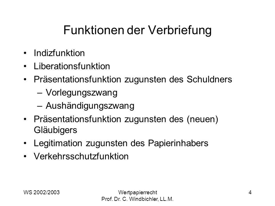 WS 2002/2003Wertpapierrecht Prof. Dr. C. Windbichler, LL.M. 4 Funktionen der Verbriefung Indizfunktion Liberationsfunktion Präsentationsfunktion zugun