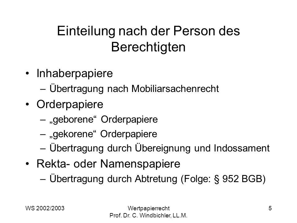 WS 2002/2003Wertpapierrecht Prof. Dr. C. Windbichler, LL.M. 5 Einteilung nach der Person des Berechtigten Inhaberpapiere –Übertragung nach Mobiliarsac