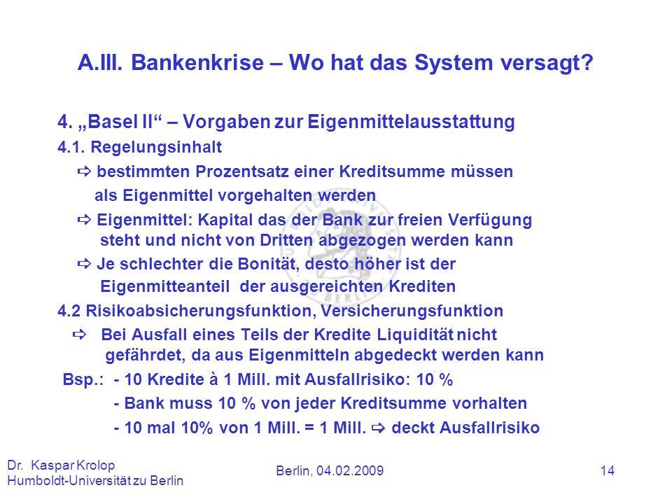 Berlin, 04.02.2009 Dr. Kaspar Krolop Humboldt-Universität zu Berlin 14 A.III. Bankenkrise – Wo hat das System versagt? 4. Basel II – Vorgaben zur Eige