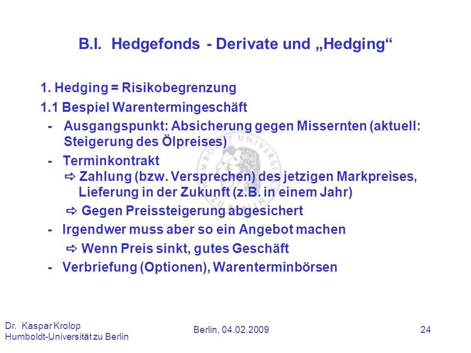 Berlin, 04.02.2009 Dr. Kaspar Krolop Humboldt-Universität zu Berlin 24 B.I. Hedgefonds - Derivate und Hedging 1. Hedging = Risikobegrenzung 1.1 Bespie