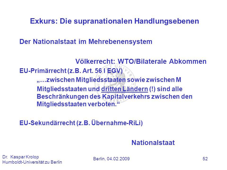 Berlin, 04.02.2009 Dr. Kaspar Krolop Humboldt-Universität zu Berlin 52 Exkurs: Die supranationalen Handlungsebenen Der Nationalstaat im Mehrebenensyst