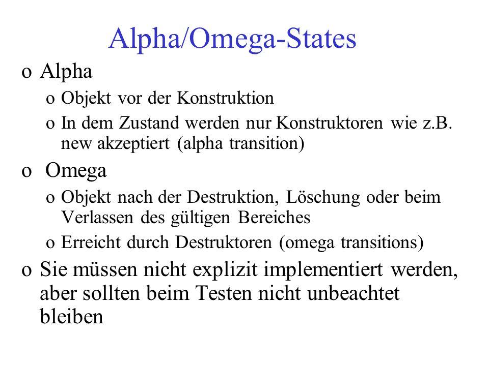 Alpha/Omega-States oAlpha oObjekt vor der Konstruktion oIn dem Zustand werden nur Konstruktoren wie z.B. new akzeptiert (alpha transition) o Omega oOb