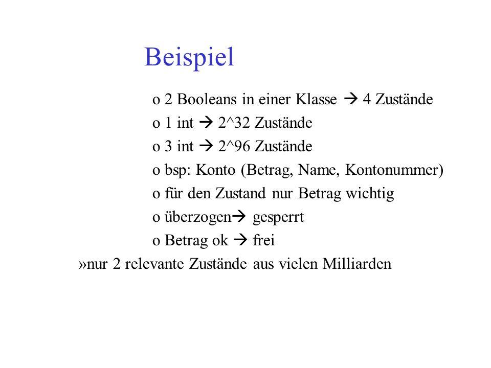 Beispiel o 2 Booleans in einer Klasse 4 Zustände o 1 int 2^32 Zustände o 3 int 2^96 Zustände o bsp: Konto (Betrag, Name, Kontonummer) o für den Zustan