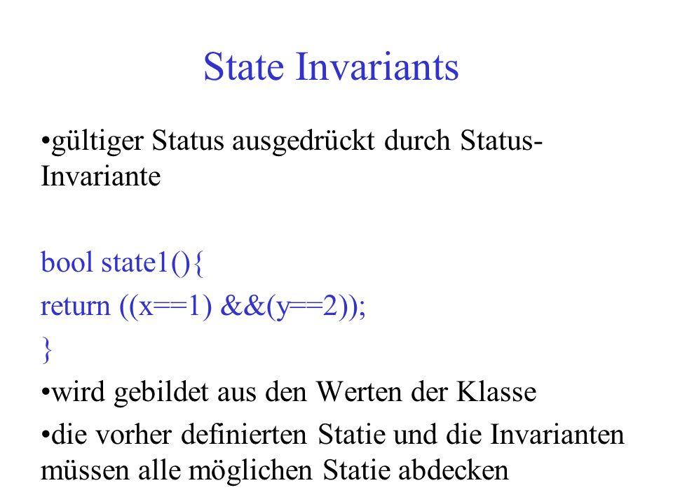 State Invariants gültiger Status ausgedrückt durch Status- Invariante bool state1(){ return ((x==1) &&(y==2)); } wird gebildet aus den Werten der Klas