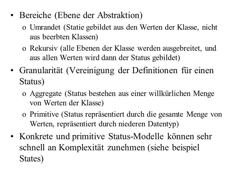 Bereiche (Ebene der Abstraktion) oUmrandet (Statie gebildet aus den Werten der Klasse, nicht aus beerbten Klassen) oRekursiv (alle Ebenen der Klasse w