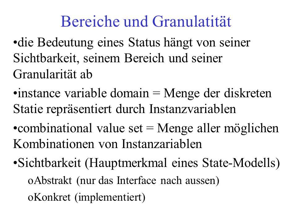 Bereiche und Granulatität die Bedeutung eines Status hängt von seiner Sichtbarkeit, seinem Bereich und seiner Granularität ab instance variable domain